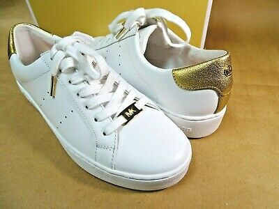 47ccf3ff43a0 NEW Michael Kors Irving Lace-Up Sneakers Size 9 Optic White Gold Leather MK