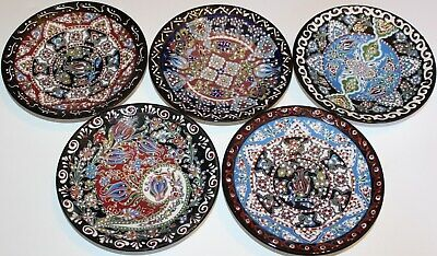 "Set of 5 Turkish 7"" (18cm) Handmade Iznik Raised Tulip Pattern Ceramic Plates"
