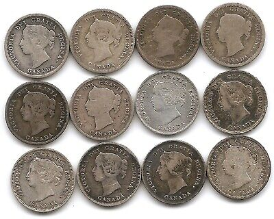 Canada Lot of 12 Different Silver 5 Cents Coins 1870 - 1901 Queen Victoria