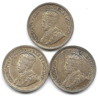 Canada Lot of 3 Silver 5 Cents Coins 1917, 1918 & 1919 in Higher Grade
