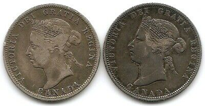 Canada Lot of 2 Silver 25 Cents Coins 1872 H & 1900 in Higher Grade