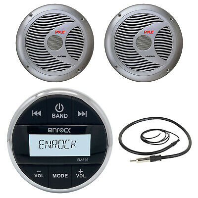 "6.5"" Silver 150W Marine Speakers, Enrock Round Bluetooth USB AUX Radio & Antenna"