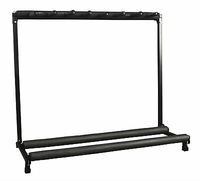 7 Guitar Instrument Folding Black Storage Stand Rack Organizer Padded Rails Band