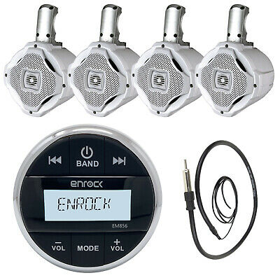 "Enrock Marine Bluetooth AUX Mp3 Round Radio, Antenna, 6.5"" Wakeboard Speakers"