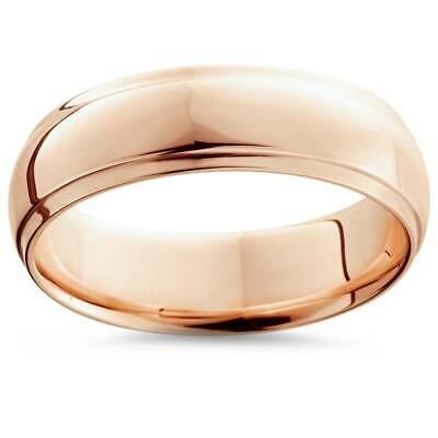 6mm High Polished 14K Rose Gold Step Cut Mens Dome Wedding Band