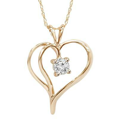 """1/3Ct Solitaire Round Diamond Heart Pendant & Chain 14K Rose Gold 1"""" Tall"""