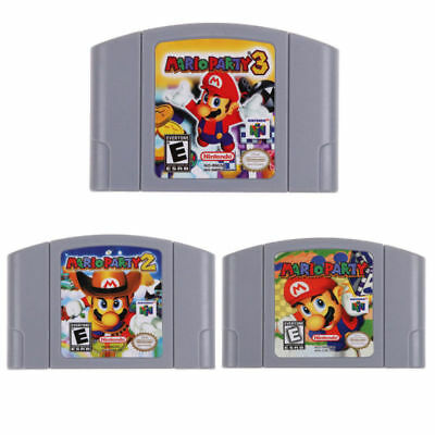 3x Nintendo N64 Game: Mario Party 1 2 3 Video Game Cartridge Card US/CAN Version