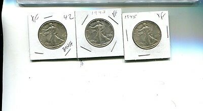 1942 1943 1945  P Walking Liberty Silver Half Dollar  Lot Of 3 Vf Xf 8003H