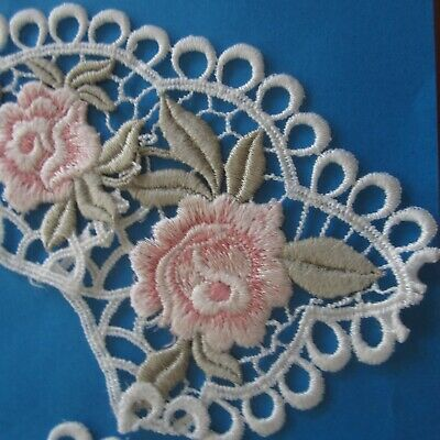 Vintage Austrian Cotton Lace Collar New old Stock White Pink Roses 29cm x 10cm