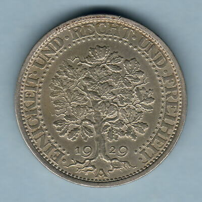 Germany. 1929-A 5 Reichs Mark.. gVF - Part Lustre