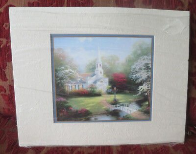 Thomas Kinkade Hometown Chapel Matted Print Certificate of Authenticity