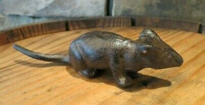 "Small Vintage-Style Cast Iron Mouse Figurine, Statue, 5"" Long, Rustic"
