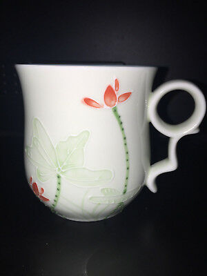 Teavana Fine Porcelain Tea Mug Floating Lotus Green Floral Design Fast Ship