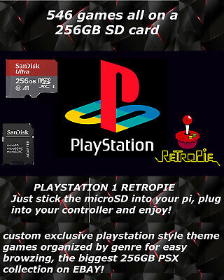 256 GB RETROPIE PS1 500 Games - 3B+ & 3B SD Card, Collection of