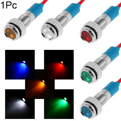 3V -220V 6mm Signal Lamp LED Metal Indicator Dashboard Light With Wire