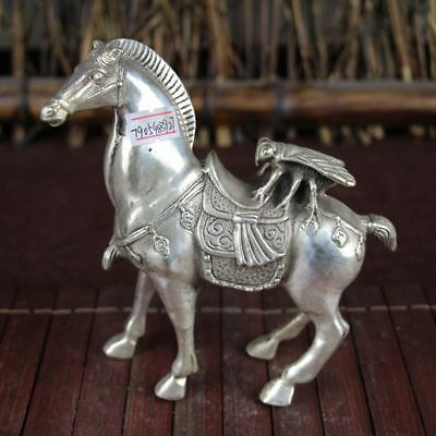 China old Feng Shui ornaments white Copper Silver plating  Maesvin horse and fly