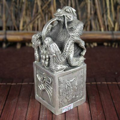 China old Feng Shui ornaments white Copper Silver plating Longevity Dragon Seal