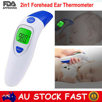 Digital Infrared Ear Forehead Thermometer Baby Fever Alarm Temperature Probe AUS