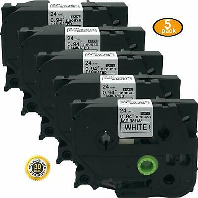 5PK TZe 251 TZ 251 Black on White Label Tape Compatible for Brother P Touch 24mm