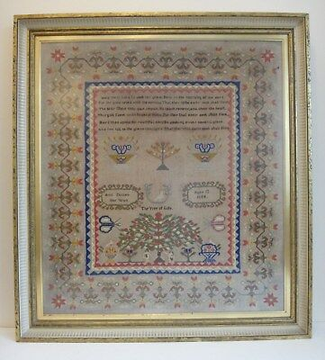 Large Victorian Sampler 1858 embroidery 55cm x 49cm The tree of Life Ann Dutton