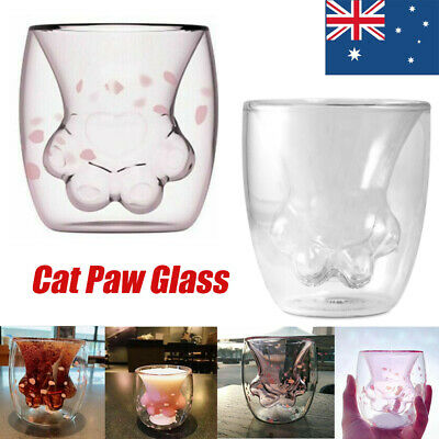 For Starbucks Sakura Pink Cat Paw Glass Cup Double transparent Coffee Milk Mug