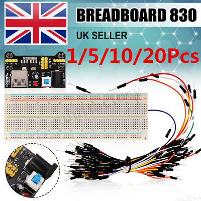 1//10/20Pc Solderless Prototype PCB Breadboard 830 Hole Optional X 65 Jump Wires