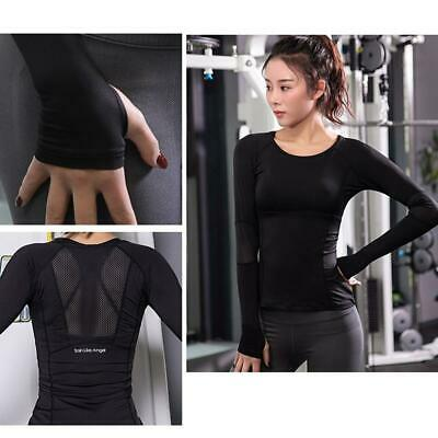 Women Gym Sports Shirt Yoga Top Fitness Running Long Sleeve T-Shirt Tops LC