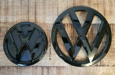 VW Transporter T6 Gloss Black Front Rear Boot Badge Set [Fits 2015+ Models]