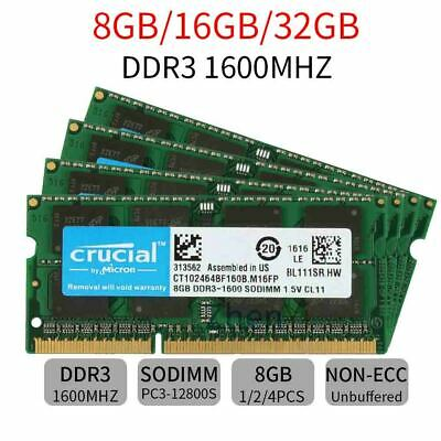 32GB 16G 8G PC3-12800S For Crucial DDR3 1600MHz SODIMM 204Pin Laptop RAM Lot UK