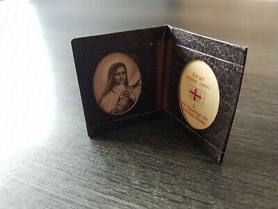 Antique leather relic folder Saint Therese
