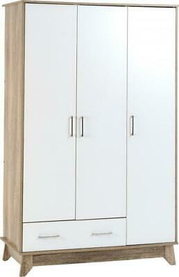 White / Mid Oak Effect Veneer 3 Door 1 Drawer Wardrobe HOLMES