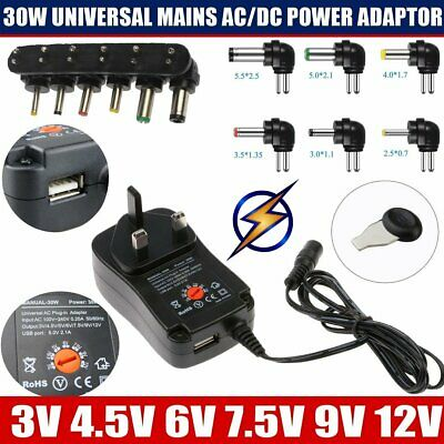 Universal Mains AC/DC Switching 30W Power Adaptor Supply Plug Charger 3v to 12v