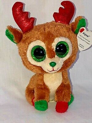 0572007a4f1 TY BEANIE BOOS ~ ALPINE the Reindeer (6 Inch)(Red Antlers) Swing Tag ...