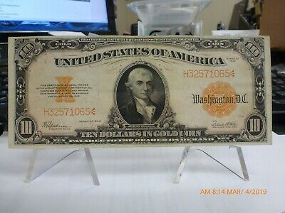 1922 $10 Ten Dollar Large Size Gold Certificate Bank Note NICE Paper Quality