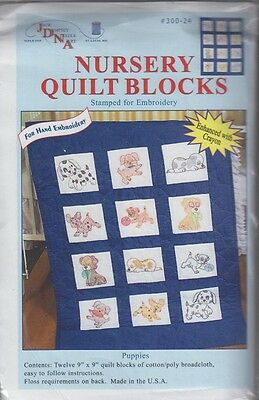 "1 Jack Dempsey  ""Puppies""  Stamped Embroidery Nursery Quilt Blocks"