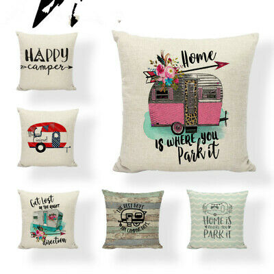 Hot Sale Linen Pillow Cover Happy Driving Camping Wood Cushion Cover Home Sofa