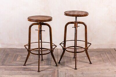 Copper Framed Height Adjustable Machinist Swivel Stool Metal Industrial Look