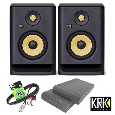 KRK Rokit RP5 G4 Active DJ Studio Monitor Speakers with Isolation Pads & Cable