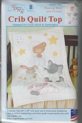1 Jack Dempsey Praying Bear & Friends Stamped x-Stitch-Embroidery Crib Quilt Top
