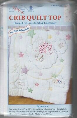 1 Jack Dempsey Dreamland Stamped x-Stitch-Embroidery Crib Quilt Top