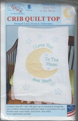 1 Jack Dempsey I Love You to The Moon Stamped x-Stitch-Embroidery Crib Quilt Top