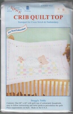 1 Jack Dempsey Snuggly Bear Stamped x-Stitch-Embroidery Crib Quilt Top