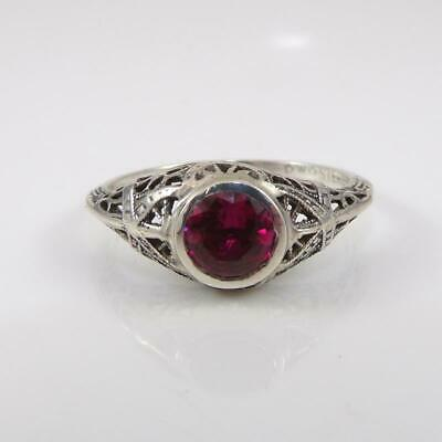 Vintage Filigree Sterling Silver Art Deco Antique Red Ruby Ring Size 9.5 LFB9