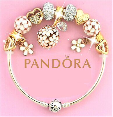 Authentic Pandora Charm Bracelet With Gold FLOWER Crystal BALL European Charms.