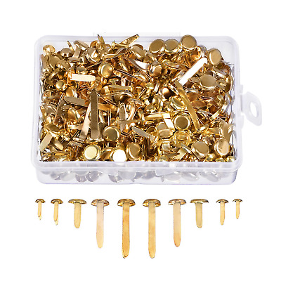 500 Pieces Paper Fasteners Assorted Sizes Round Brad Brass Plated Metal...