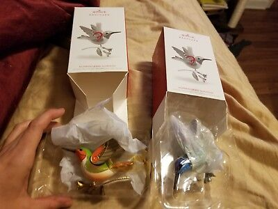 2018 Hallmark Gold & Green/Blue Hummingbird Surprise Repaint Ornaments Set of 2
