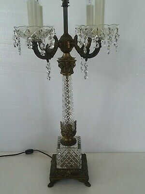 Vintage Column Crystal Ornate Hollywood Regency Brass Chandelier Table Lamp 4Arm