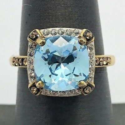 Sterling Silver Vermeil Faceted Swiss Blue Topaz Quartz CZ Halo Cocktail Ring 7