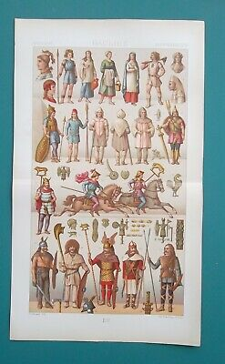 ANCIENT GAULS Celts Costume Warriors Arms Jewelry - COLOR Litho Print A. Racinet