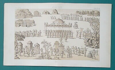 CHINA Funeral Procession of Rich Chinese Man - TINTED Litho Print A. Racinet